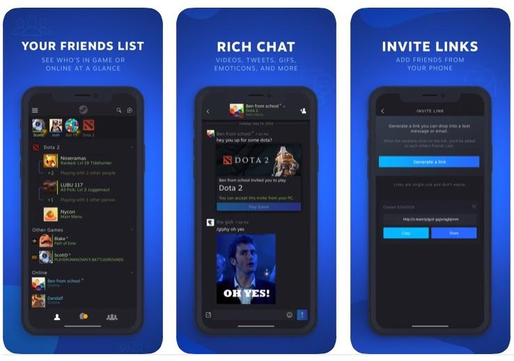 Aplicación de chat de vapor para iPhone le permite llevar la comunicación de vapor en el camino