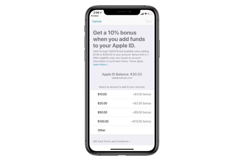 Apple ofrece de nuevo un bono del 10% por añadir fondos al ID de Apple