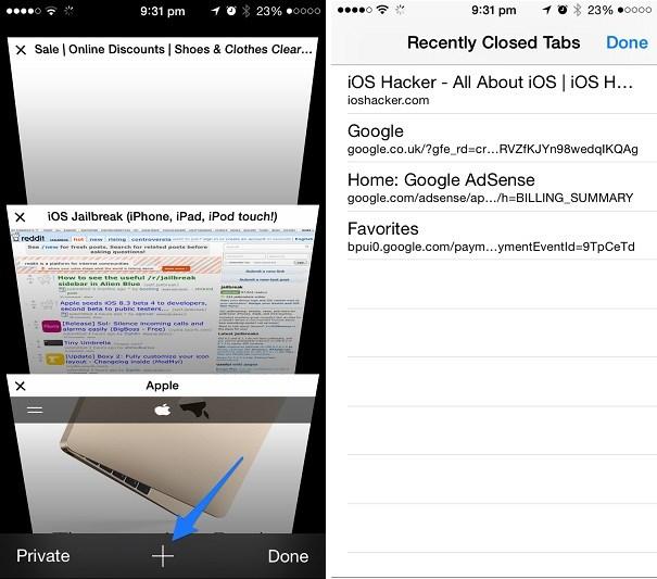 Cómo abrir Pestañas cerradas recientemente en iPhone o iPad Safari (consejo)