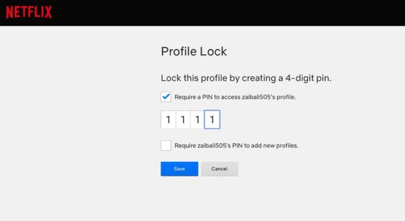 Cómo añadir un pin de 4 dígitos a un perfil de Netflix