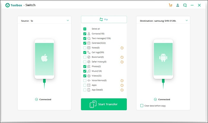 iSkysoft Toolbox Switch Feature hace que Android para iPhone transfiere una brisa