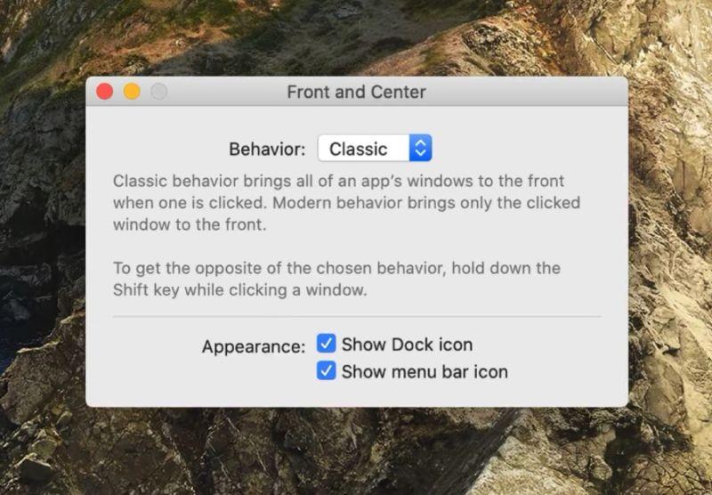La aplicación Front And Center para Mac trae el clásico comportamiento de ventana a la Mac