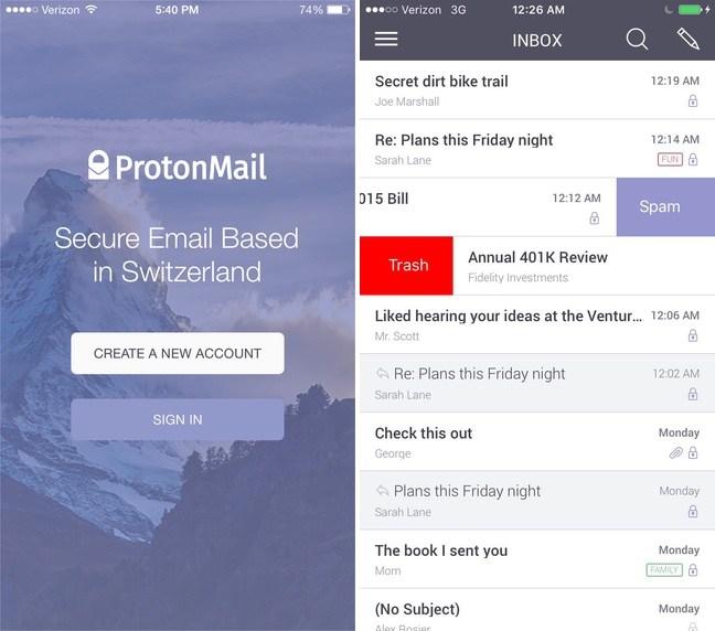 La aplicación ProtonMail ofrece un servicio de correo electrónico encriptado de extremo a extremo a iOS