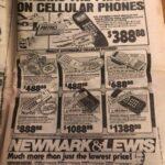 Un anuncio en el periódico muestra lo caros que eran los teléfonos celulares en 1988