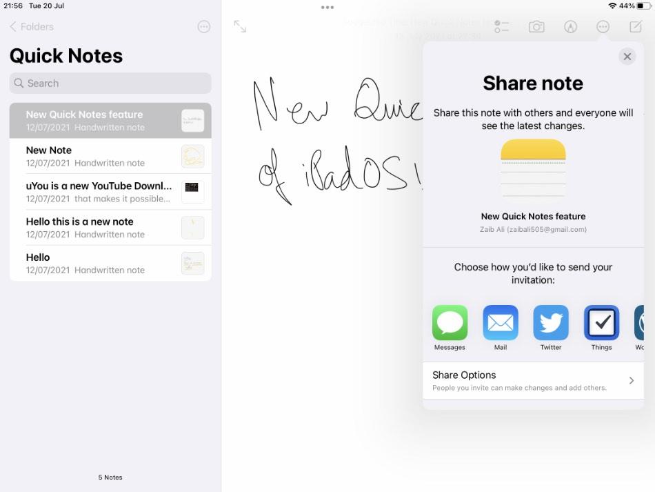 Cómo compartir notas rápidas del iPad con otros