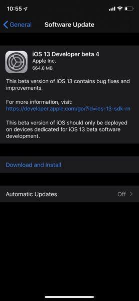 Ya están disponibles iOS 13 e iPadOS 13 Developer Beta 4